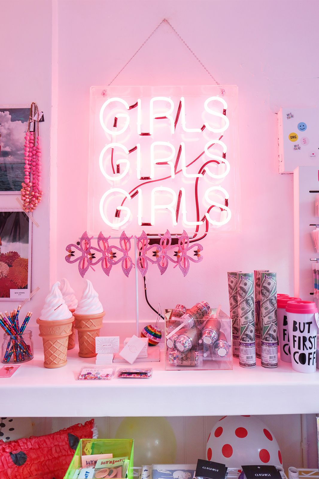 Girly pink neon sign