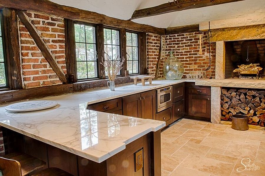 Gorgeous rustic kitchen combines brick with Calacatta Marble
