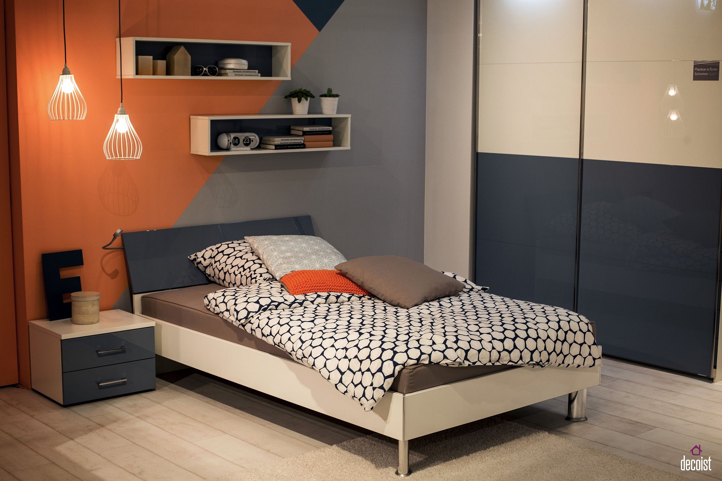 Gray and orange boys' bedroom idea