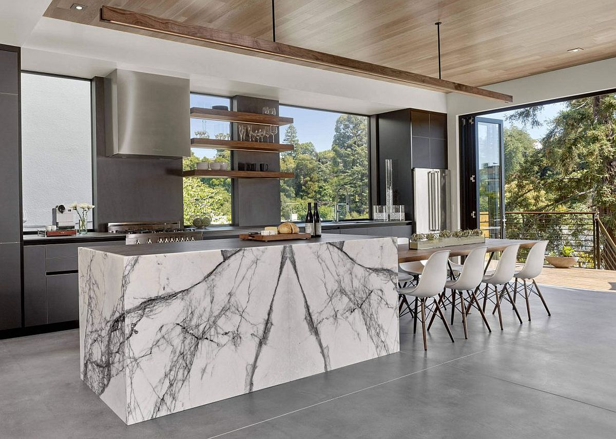 Gray-kitchen-with-a-stylish-kitchen-island-that-exudes-marble-sheen
