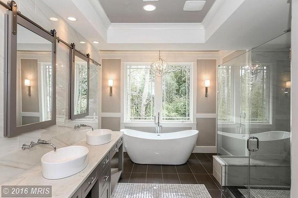 Honed Esteremoz White marble transforms this modern bathroom