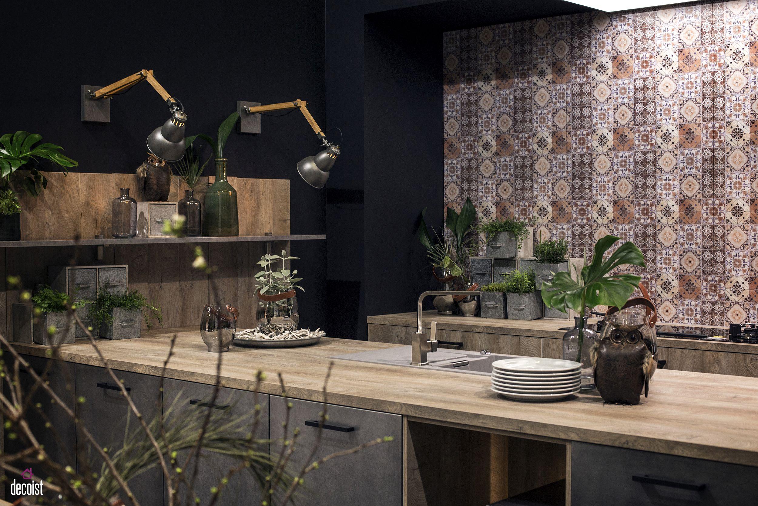 Industrial-style-sconce-light-illuminate-the-dashing-kitchen-shelf