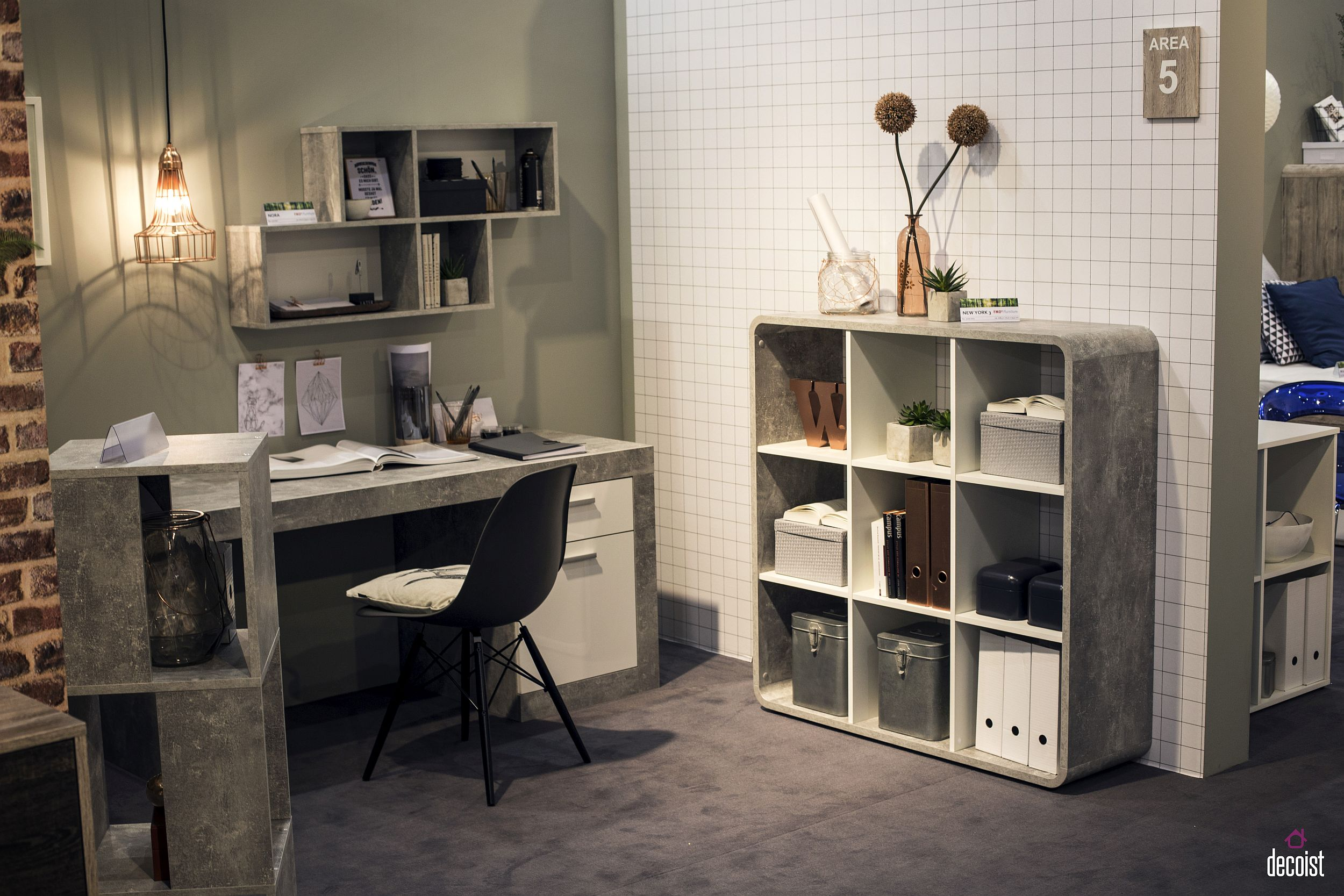 Ingenious open shelves with raw concrete finish look great in modern industrial home office Getting it Right: Finding Home Office Shelving that Works for You