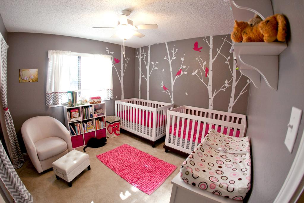 Intense-pink-and-mild-gray-nursery-