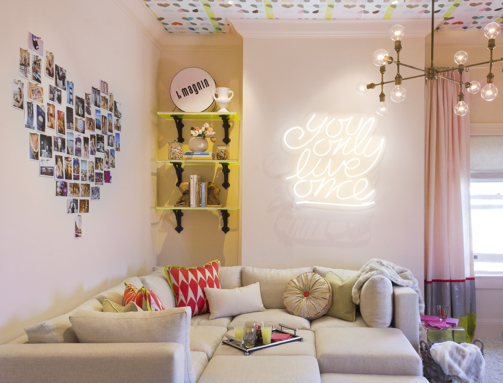 Lively neon sign in a neatly decorated room