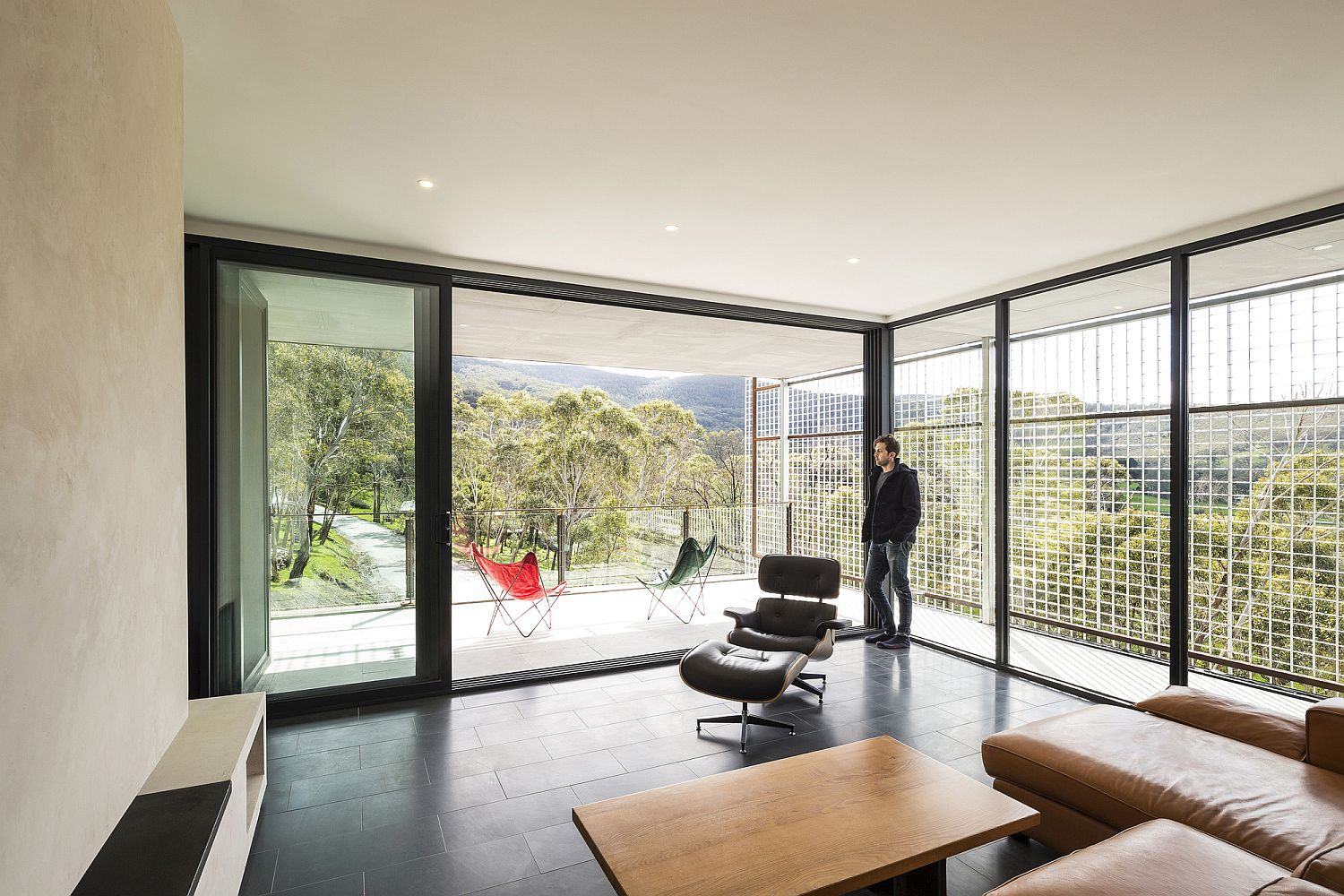Living area of the Mount Macedon House that flows into the balcony