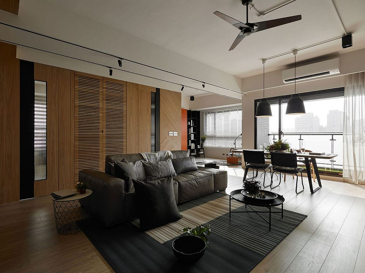 Living room and dining area of Taiwan home with a cheerful modern ambiance