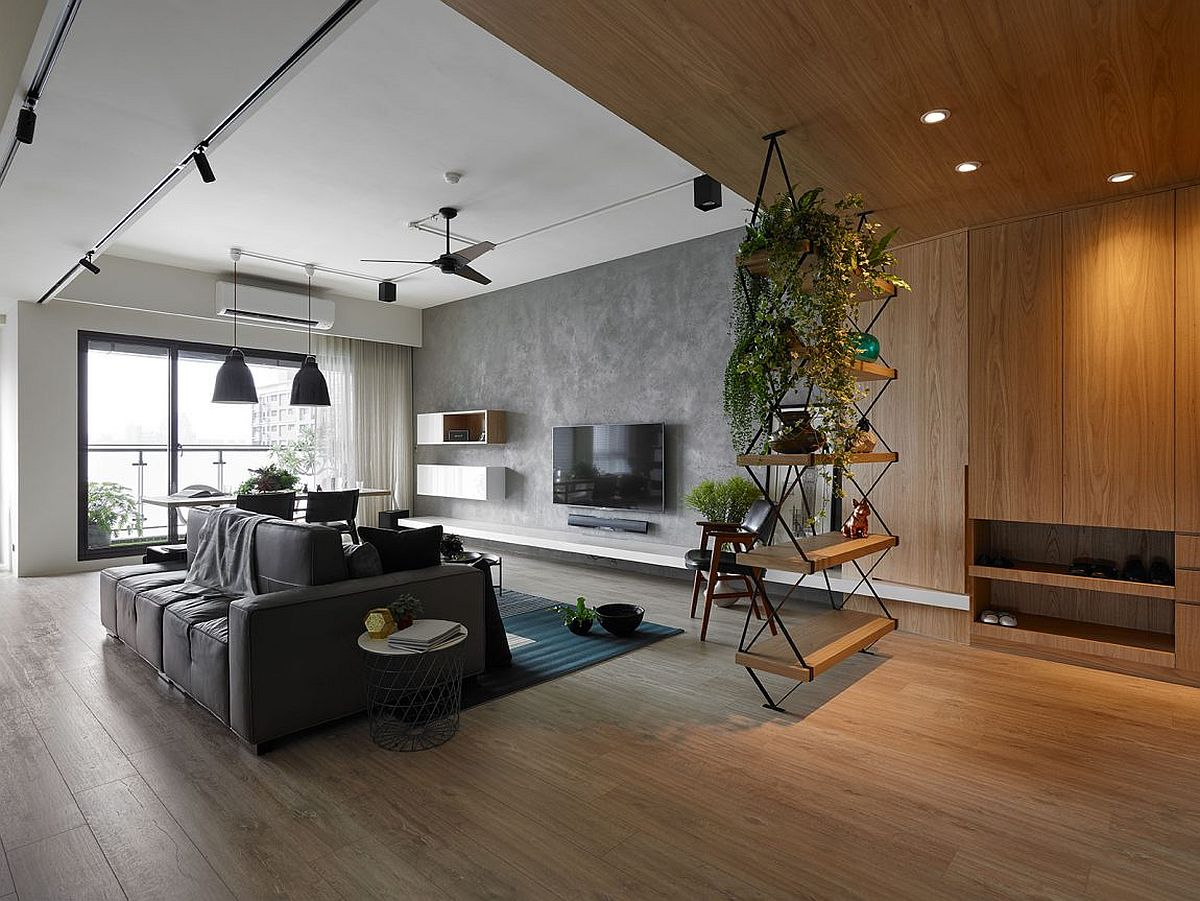 Living room of contemporary Taiwan residence crafted using hardwood