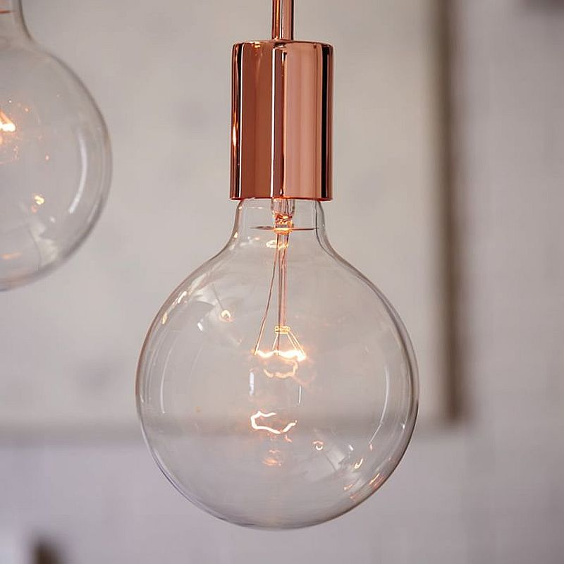 Metro 3-Light Pendant brings together metallic glint and the charm of the Edsion bulb