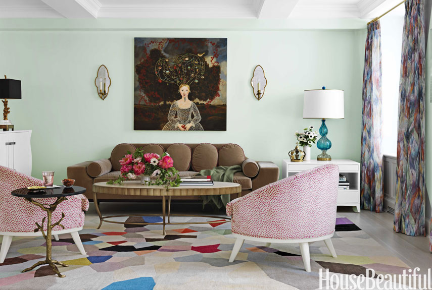 Fresh and pastel style your living room in mint hues for Old fashioned living room designs