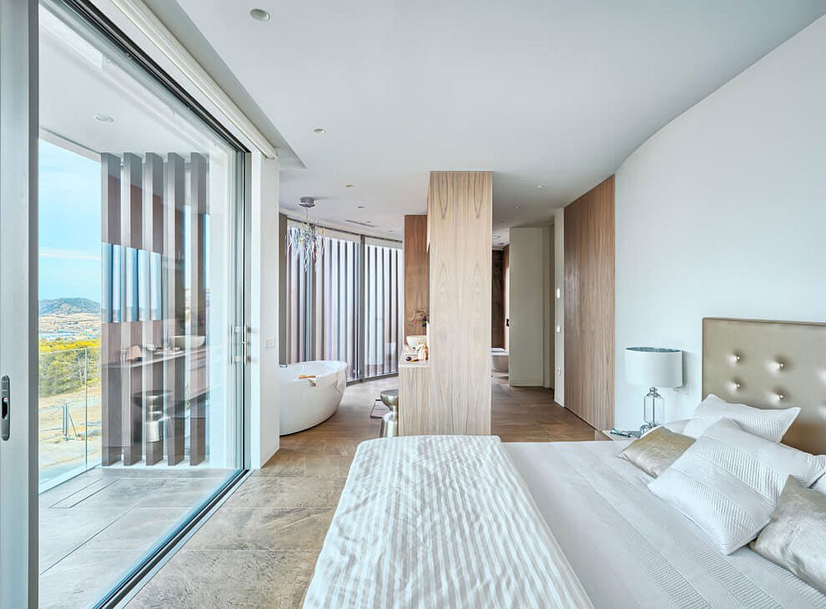 Modern bedroom in white with fabulous views and master bath
