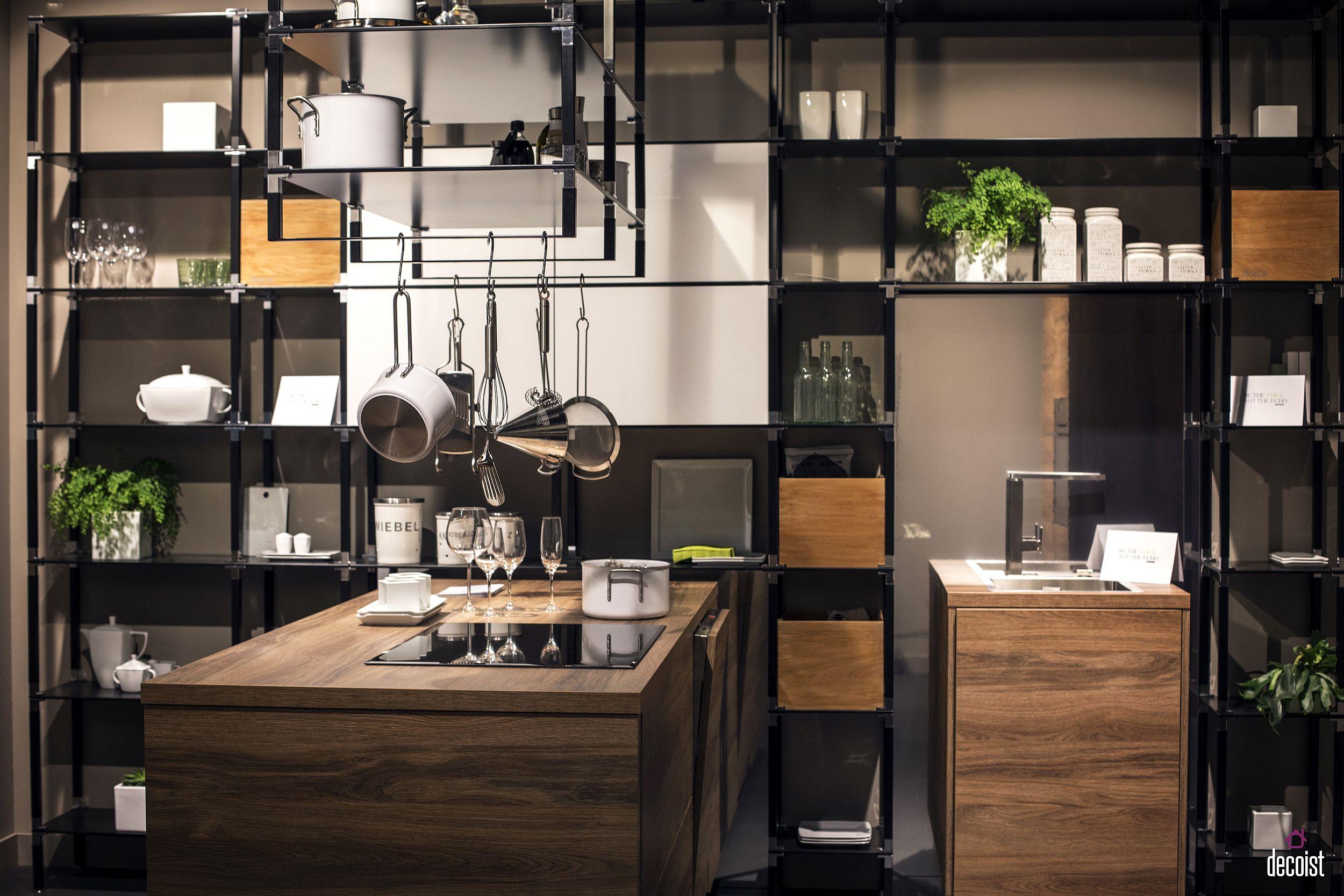 Modern industrial style kitchen shelving from Sachsenküchen