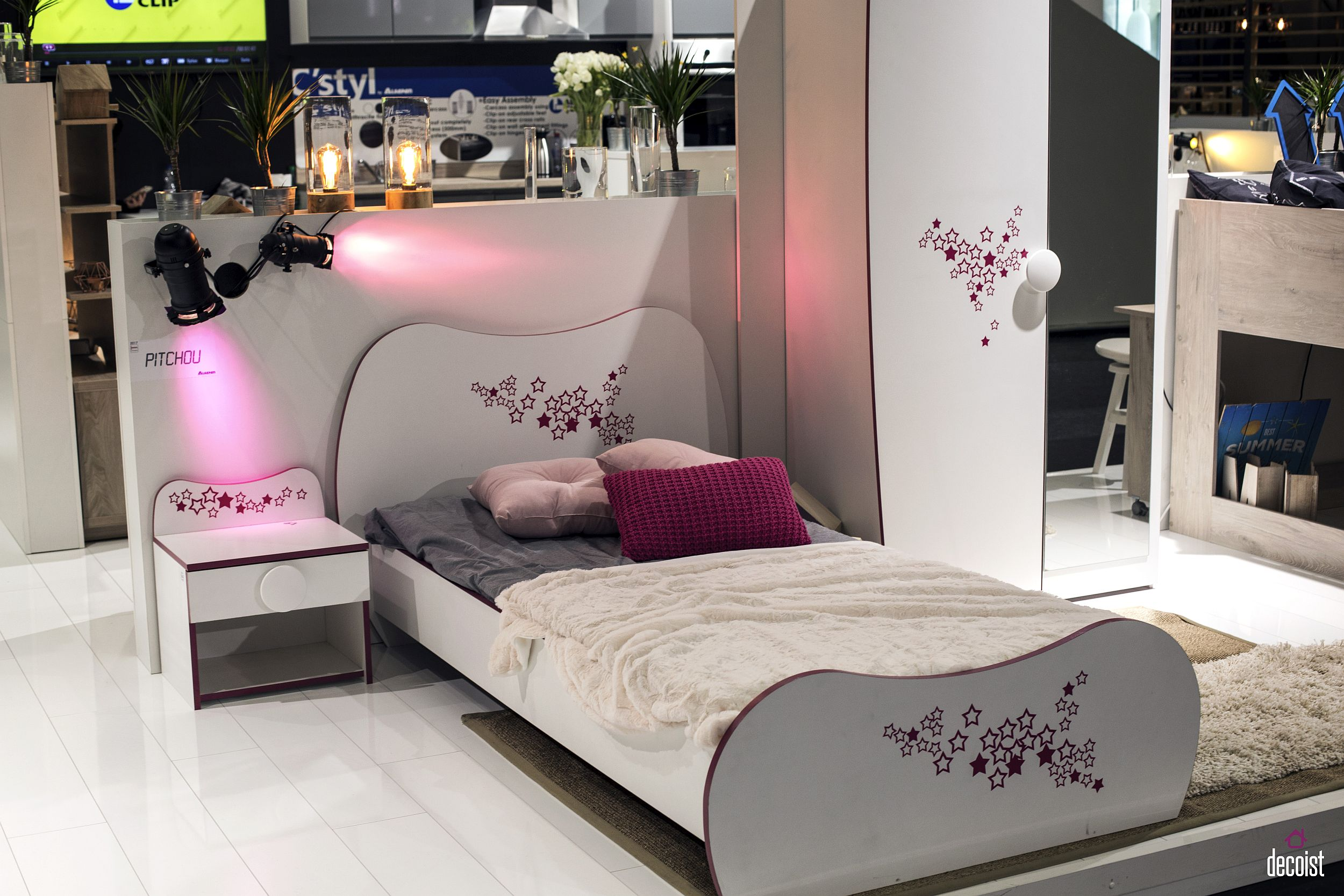 Modern kids' bedroom idea for the little girl with nightstand, bed and wardrobe that match