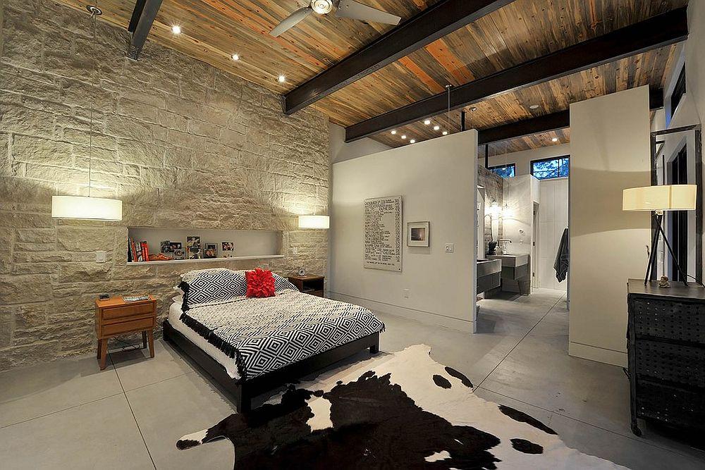 Modern rustic bedroom with limestone rubble veneer headboard wall