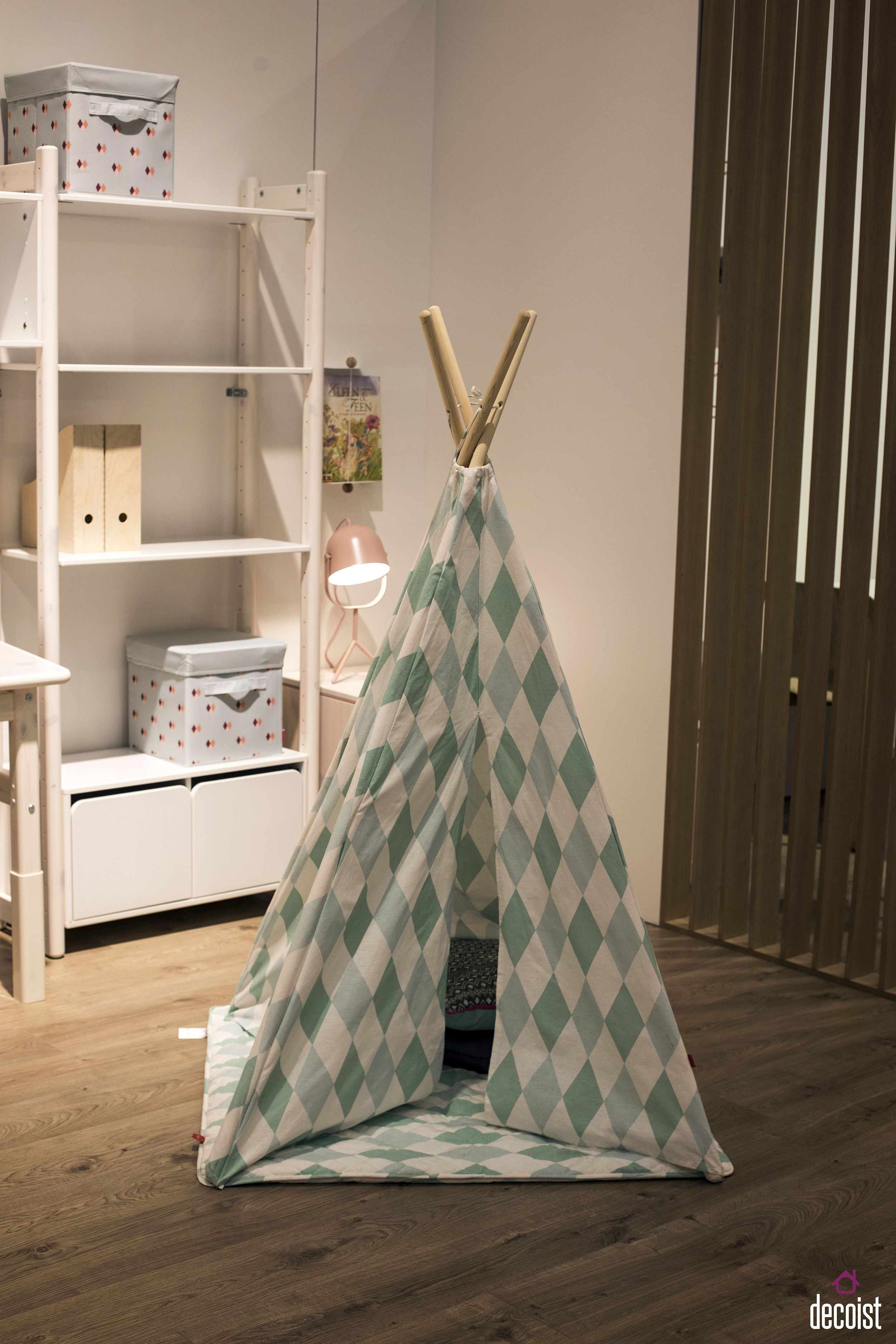 Modern teepee provides an easy way to turn an empty corner into kids' playroom