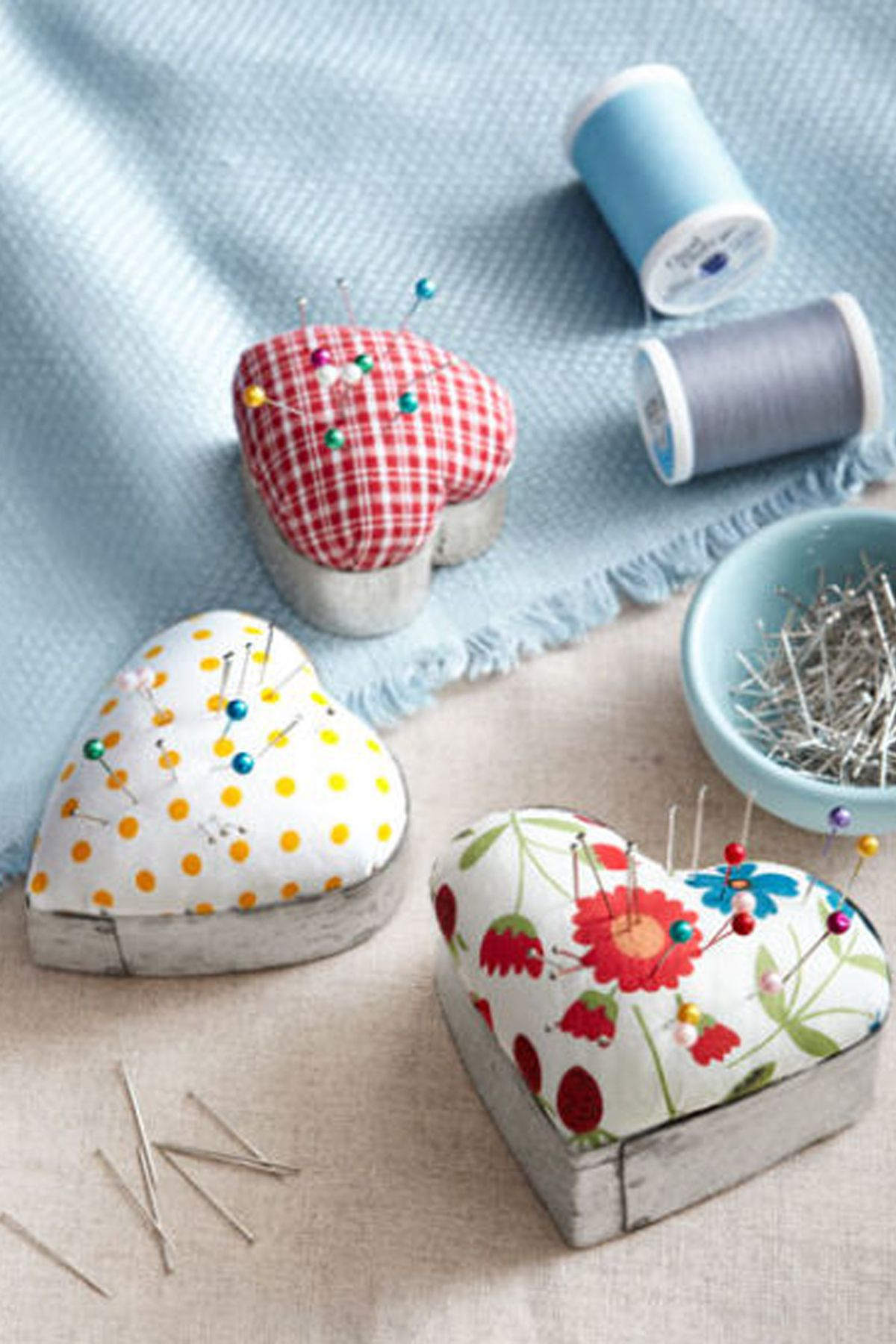 Multicolored home spun pin cushions
