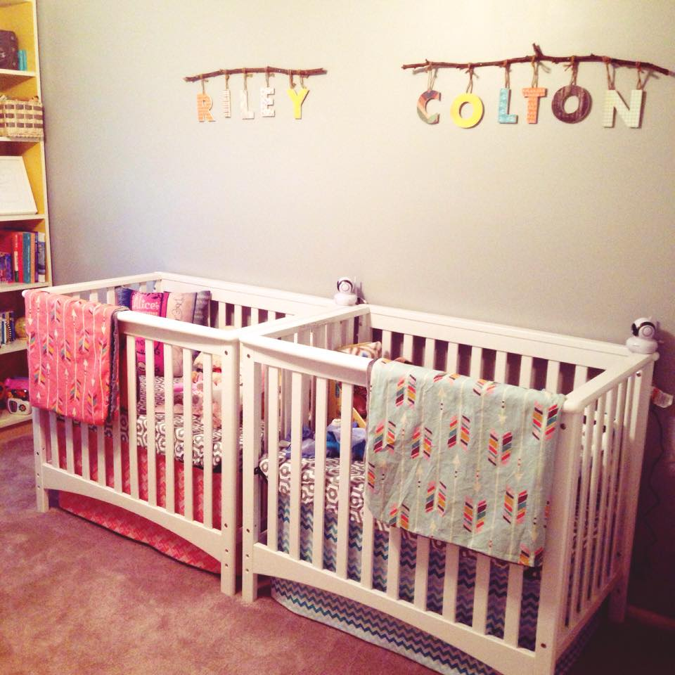 Name tags as a moving and thoughtful way of decorating a twin nursery