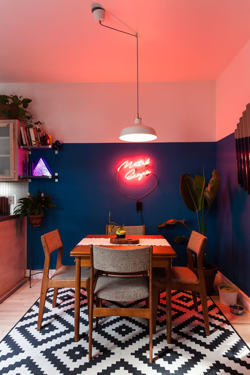 Neon sign in a darker dining corner