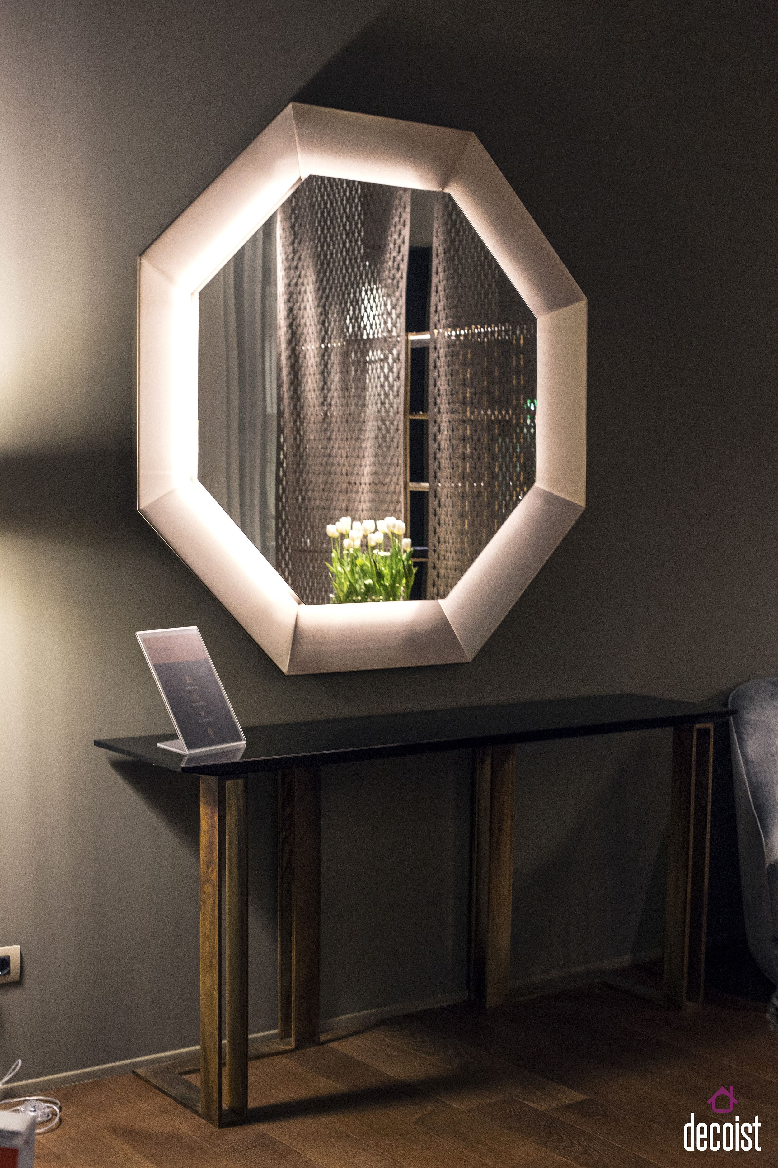 Octagonal mirror frame is a showstopper in the bathroom