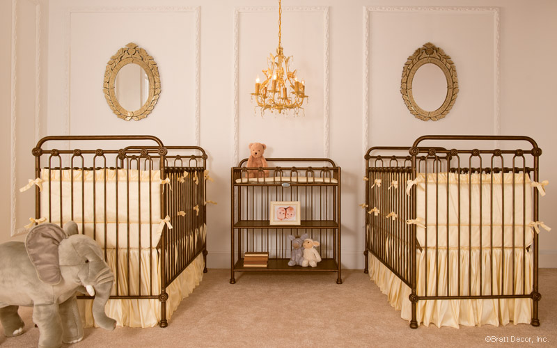Old-fashioned nursery decorated in golden tones