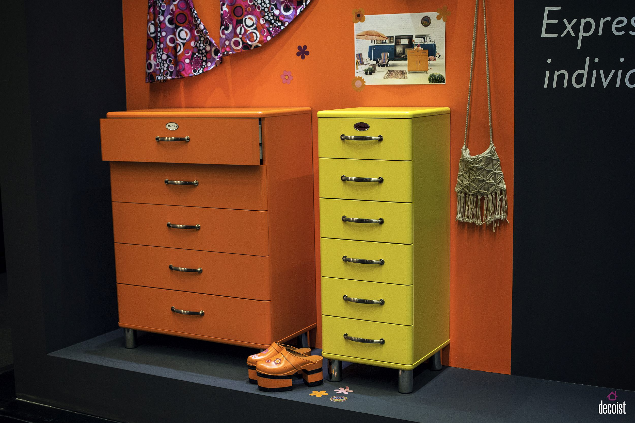 Orange and yellow Malibu storage units and drawers for the trendy teen room