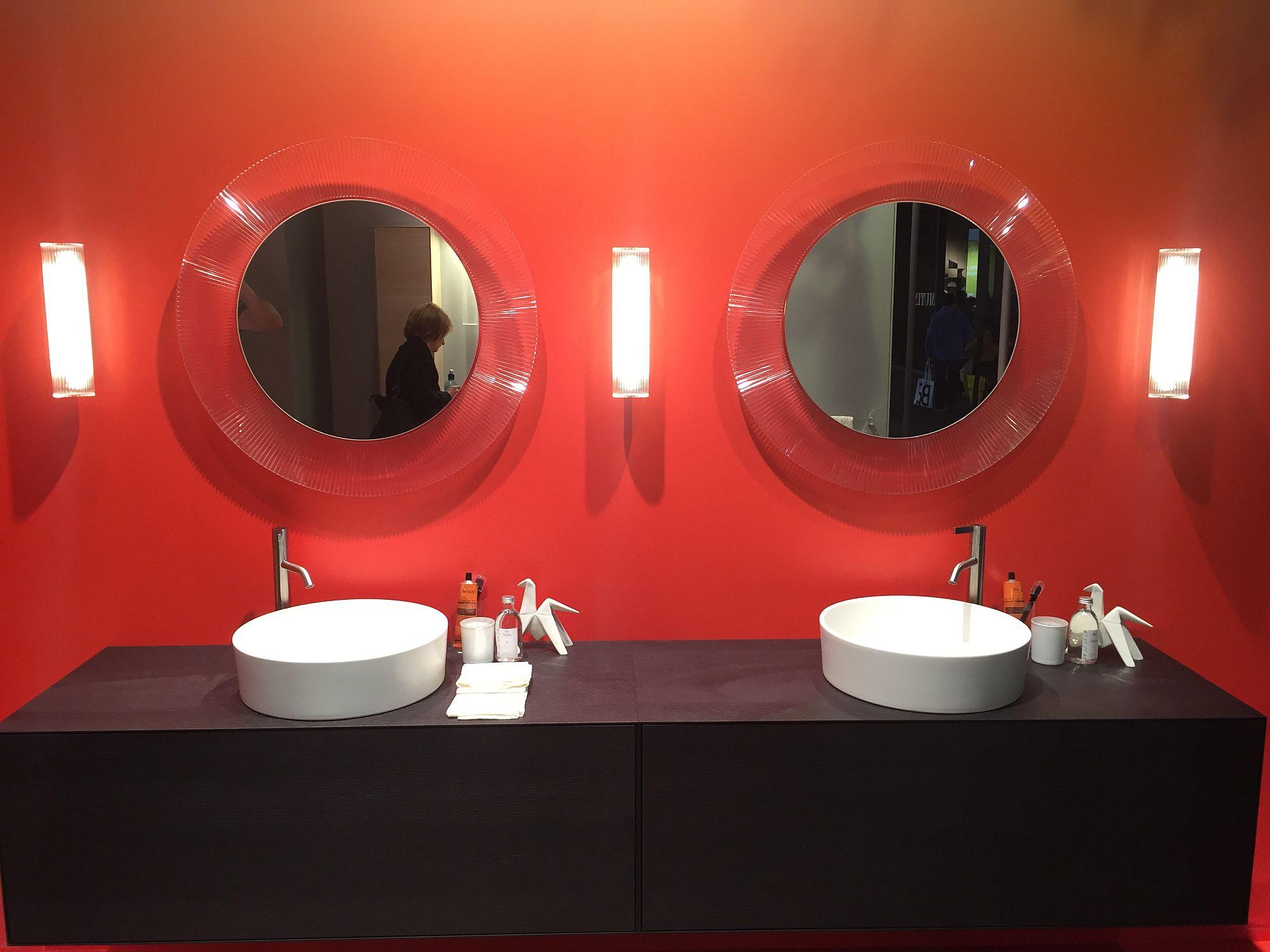 Red mirror frames from Valdama