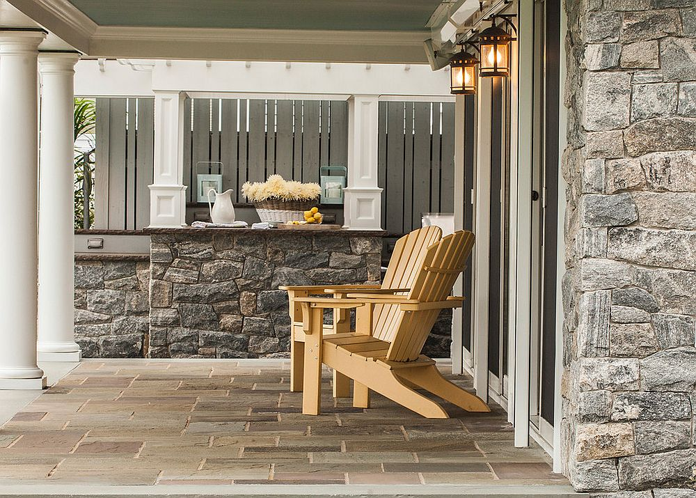 Relaxing outdoor hangout with a counter in natural stone