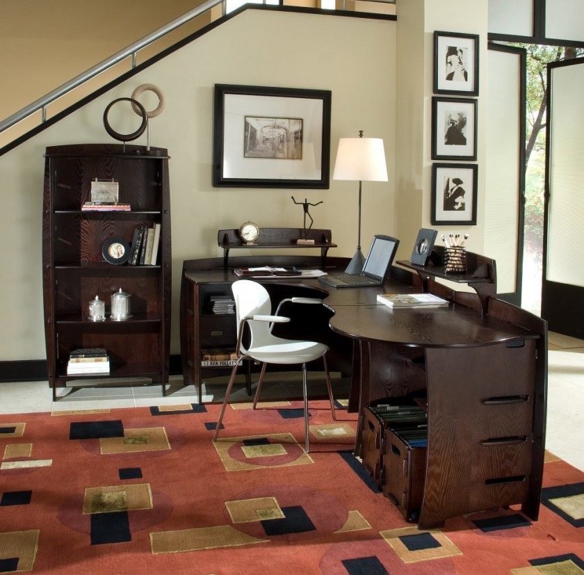 Rustic home office with contemporary elements