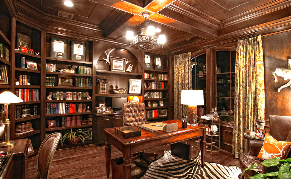 Rustic office that feels warm and intellectual