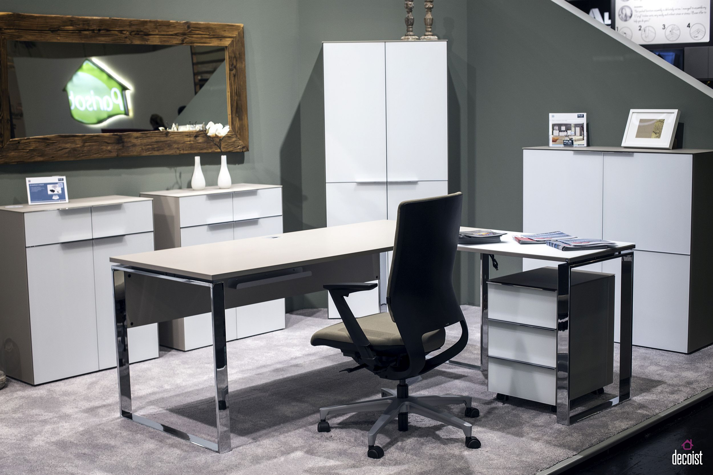 SET+ Collection of Office decor from Maja Mobel combines angular modularity with modern style