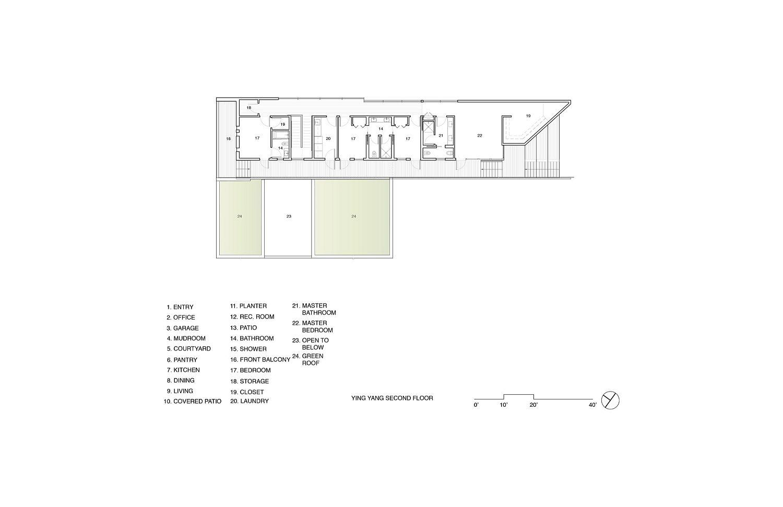 Second-level-floor-plan-of-Yin-Yang-Residence-in-California