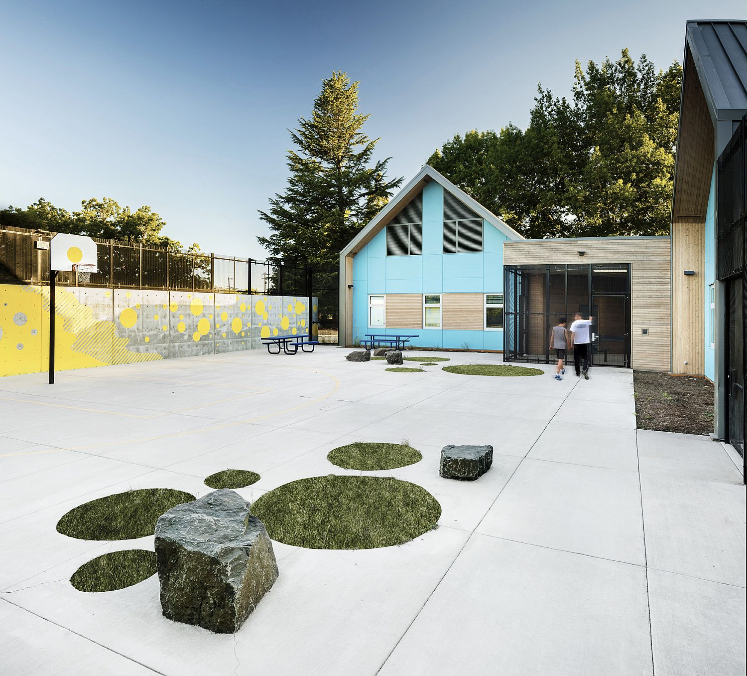Secure playground and outdoor zone at the facility