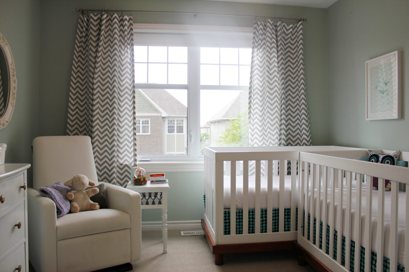 Double the trouble and love sweet and delightful twin nurseries - Crib for small space ideas ...