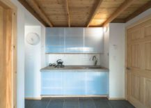 Small-and-minimal-kitchen-with-frosted-glass-doors-for-cabinets-217x155