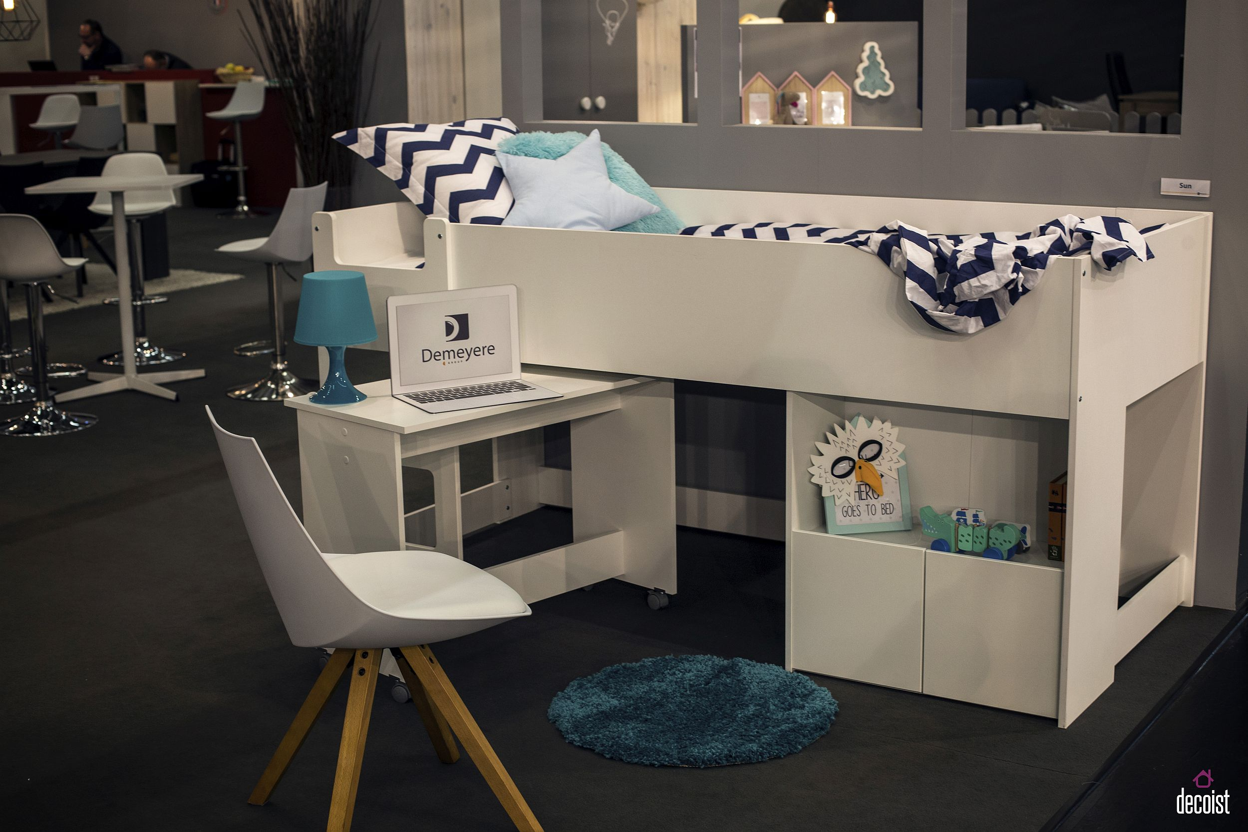 Small kids' bunk bed with tiny workstation on wheels from Demeyere