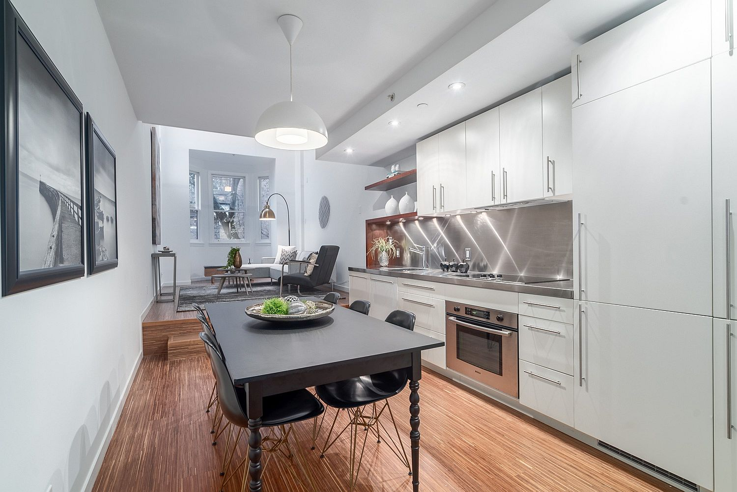 Small kitchen and dining area of the Vancouver Loft