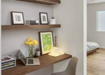 Small-workspace-in-the-bedroom-corner-with-floating-wooden-shelves-217x155