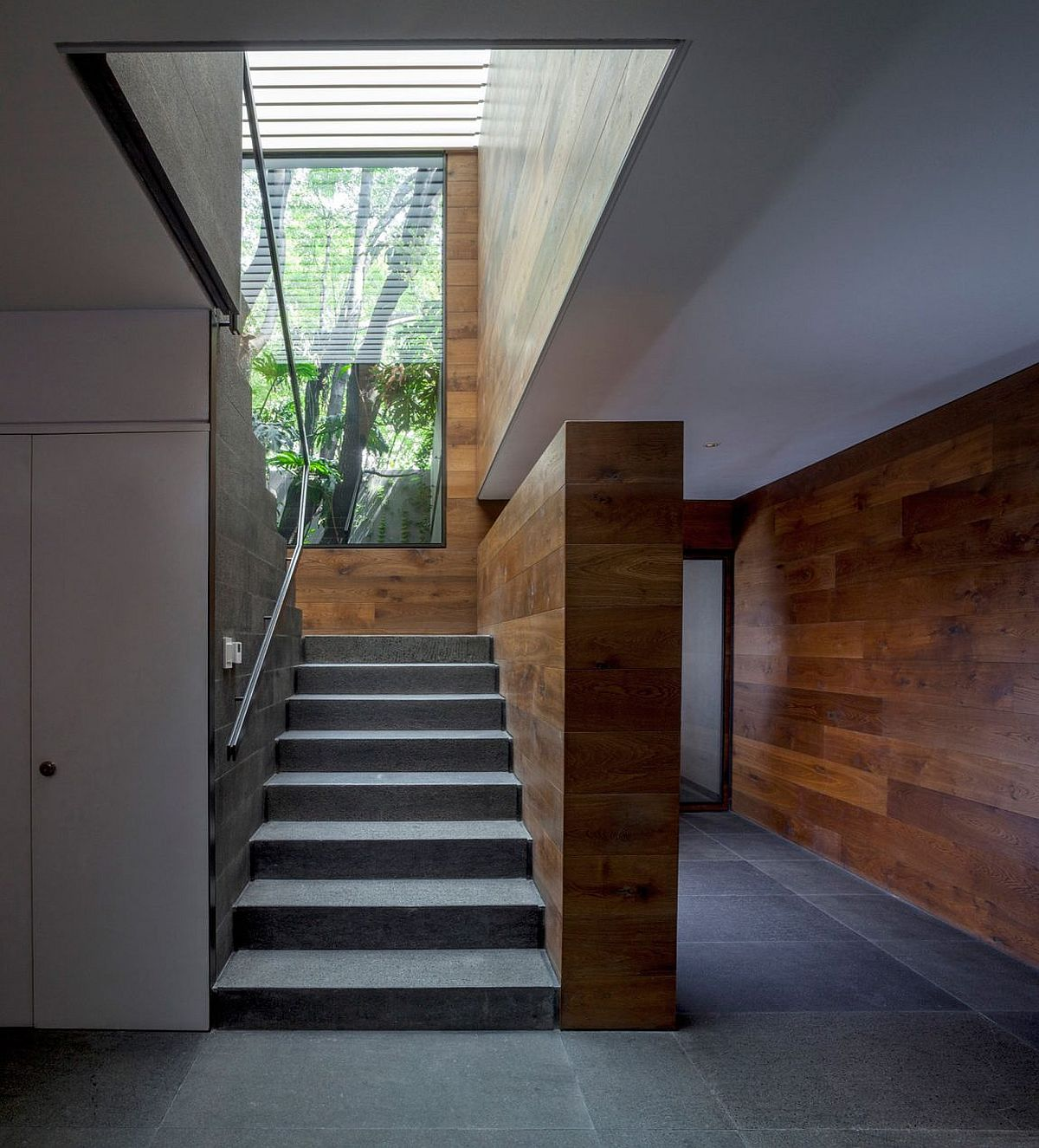 Stairwell of the home also ushers in natural light