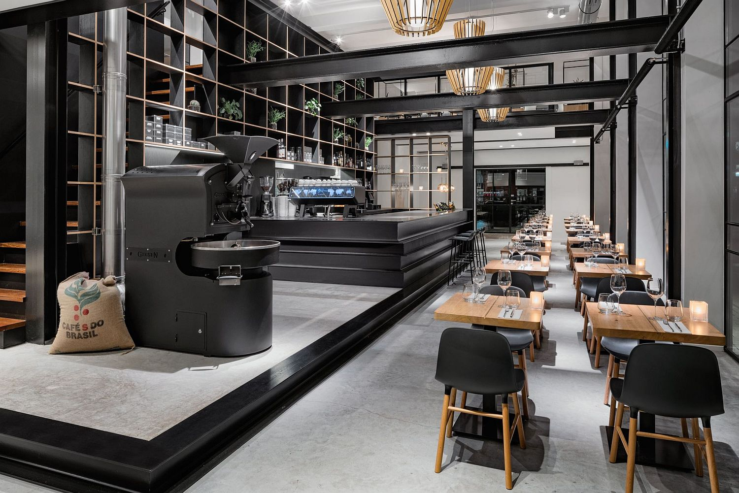 Stunning black and white cafe with a dash of woodsy charm