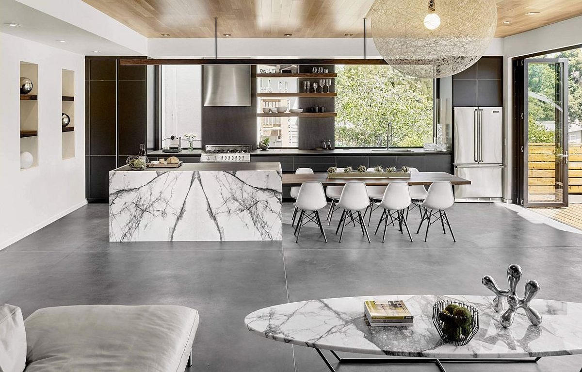 Stunning marble kitchen island with an exteded dining space