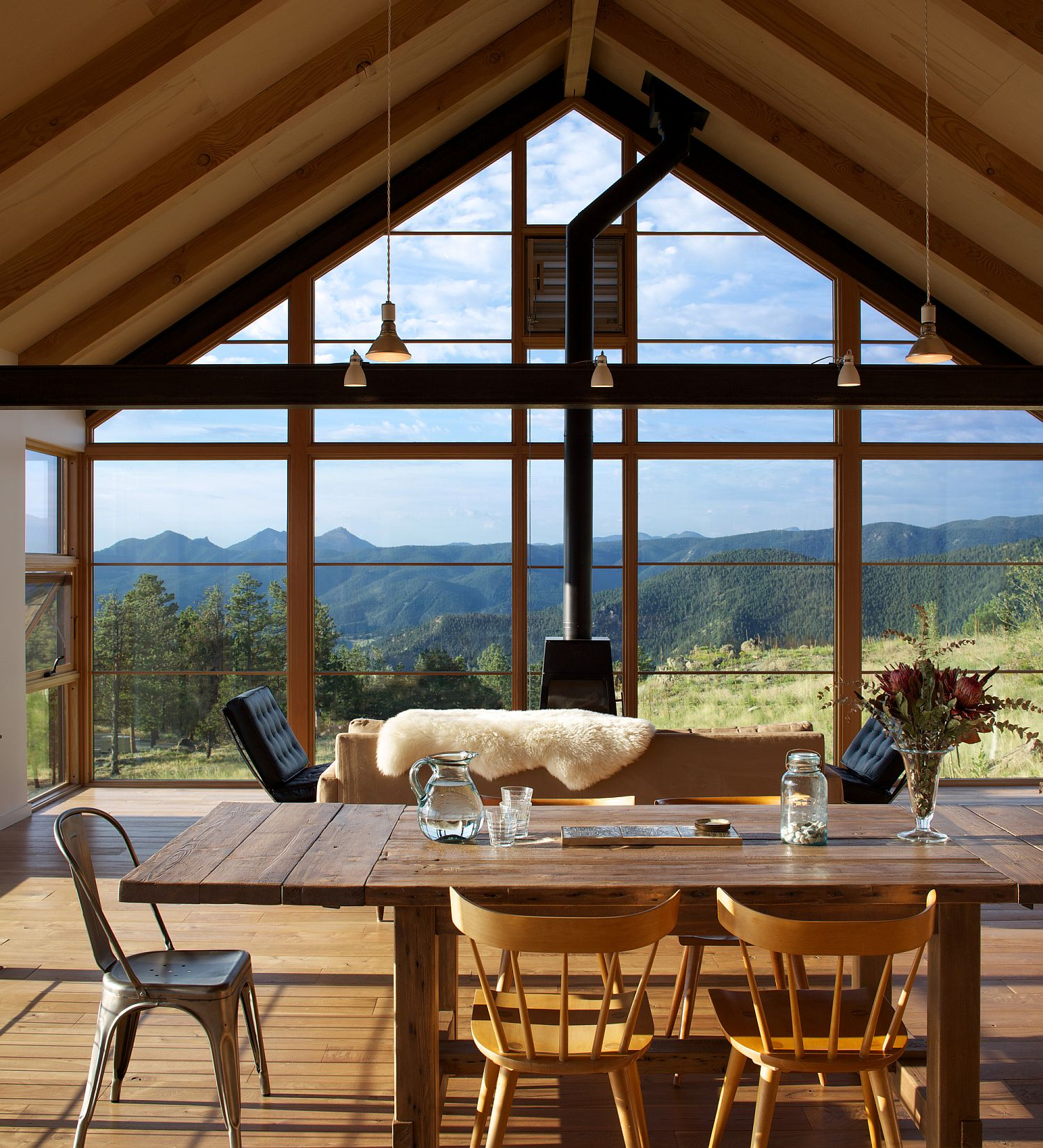 Stunning views of the Boulder landscape from the dining room of the Sunshine Canyon house