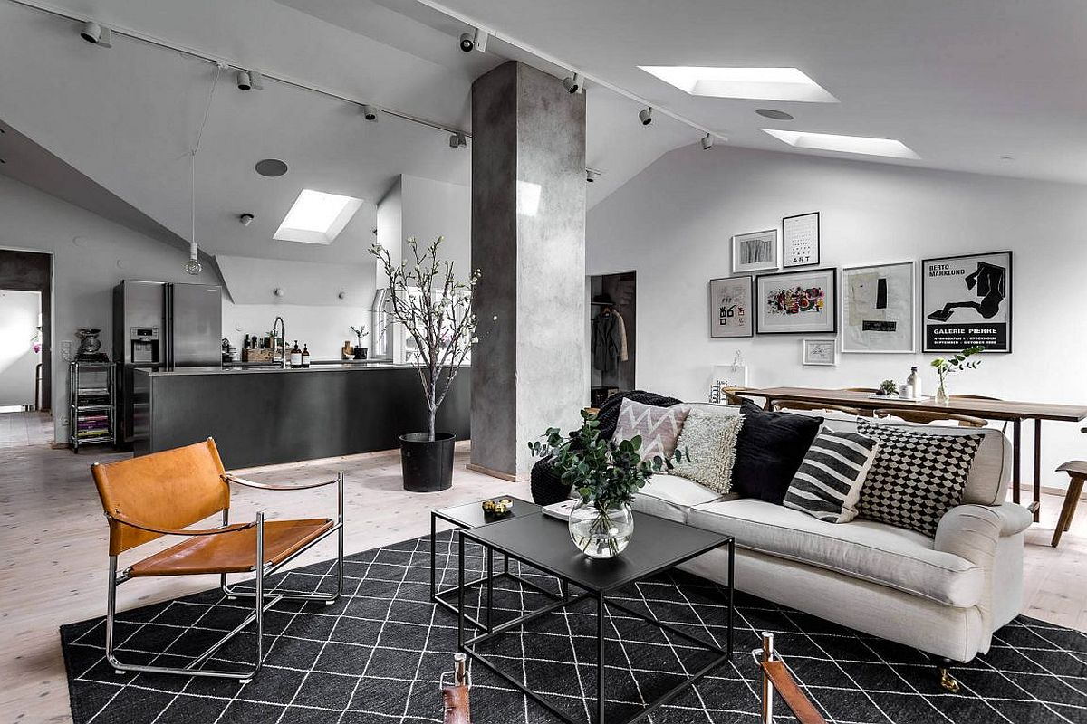 Stylish Scandinavian apartment in black and white with a touch of gray Neutrals to Swoon Over: Cheerful Scandinavian Apartment in Stockholm
