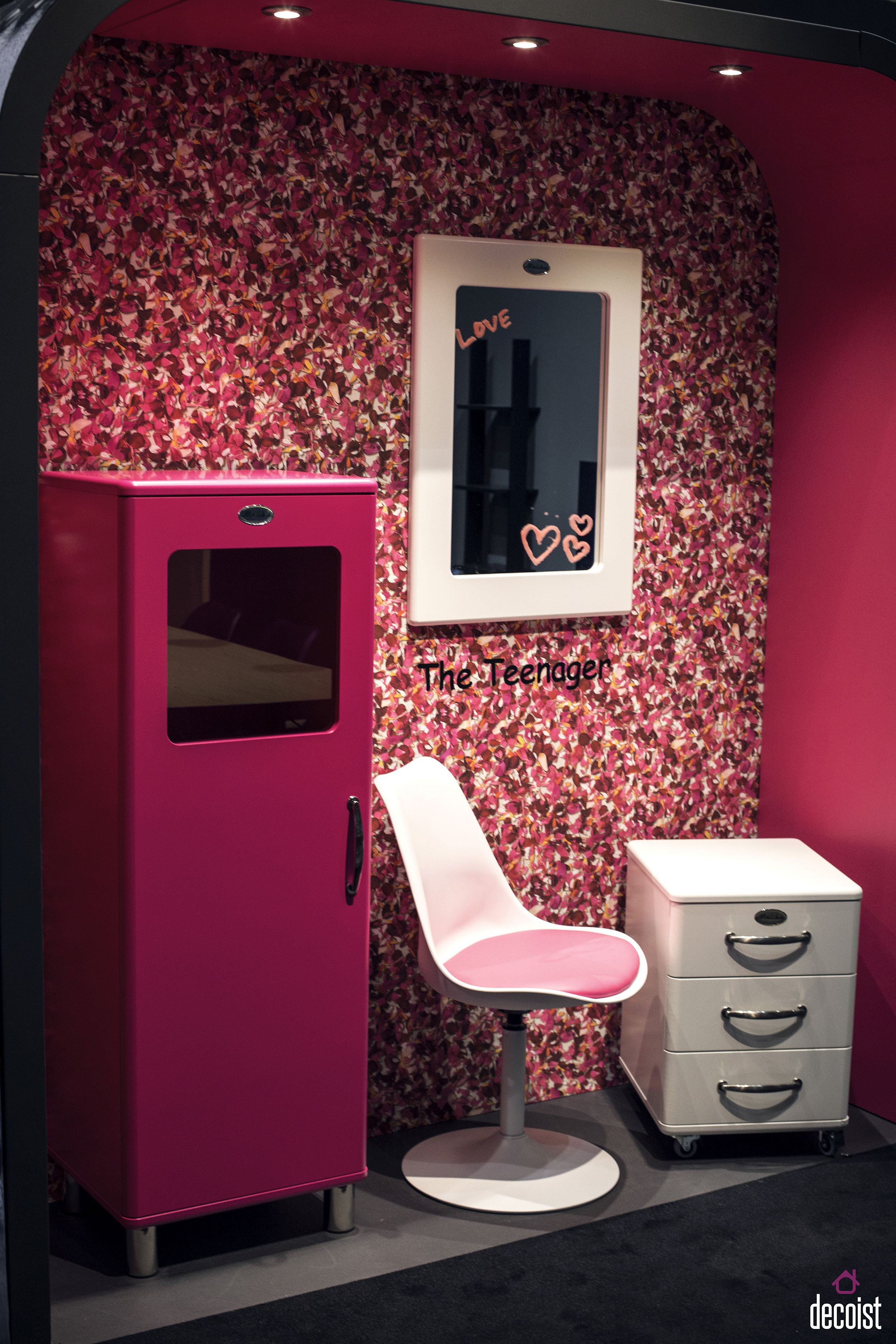 Super-chic storage unit and bedroom drawer in pink for the stylish teen room