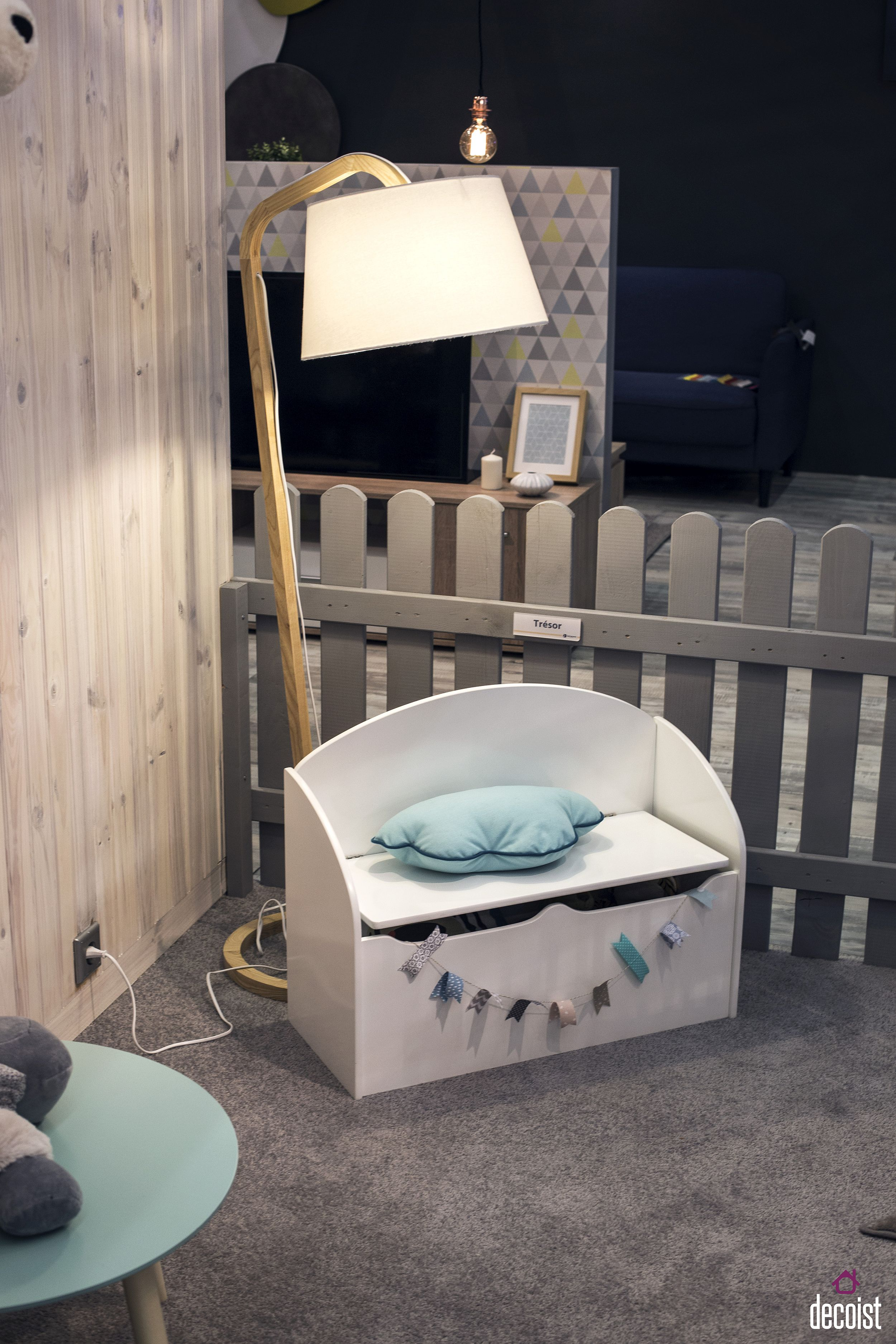 Super-cute kids' chair with storage and a pillow is both space-savvy and perfect for the playroom