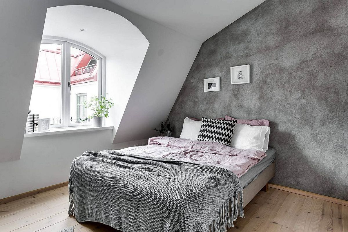 Textured Accent Wall : Neutrals to swoon over cheerful scandinavian apartment in