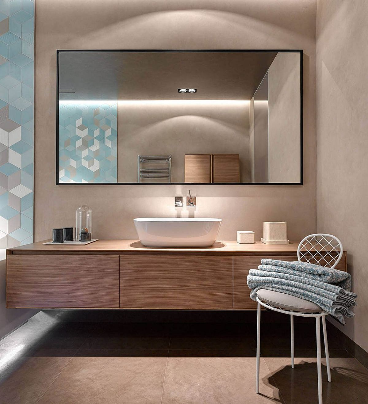 Textured walls and geo tiles for the fashionable modern bathroom