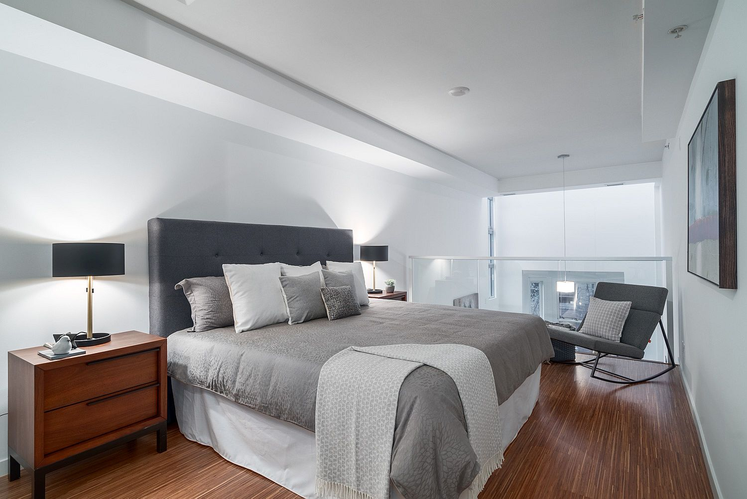 Top level master bedroom with a relaxing ambiance and neutral color scheme