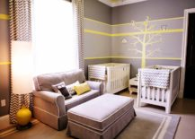 Twin-nursery-wth-a-yellow-wall-decoration-and-neutral-interior--217x155
