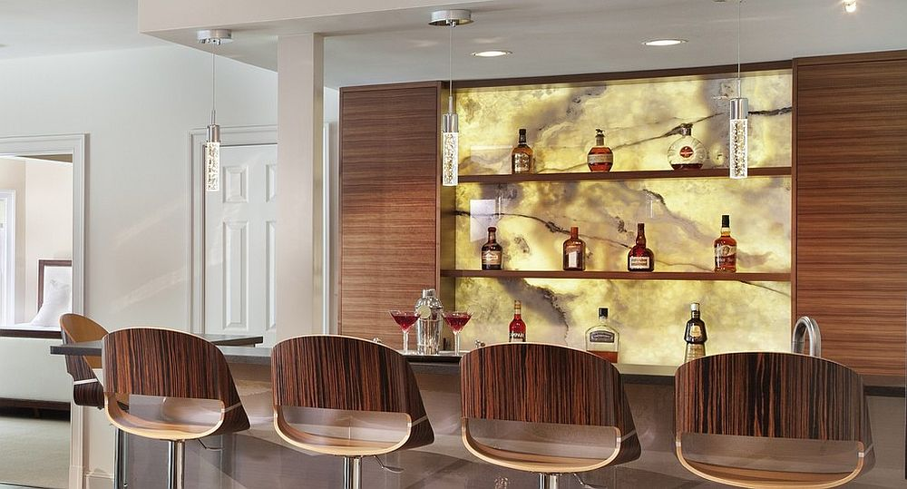 Unique contemporary home bar with back-lit onyx backsplash