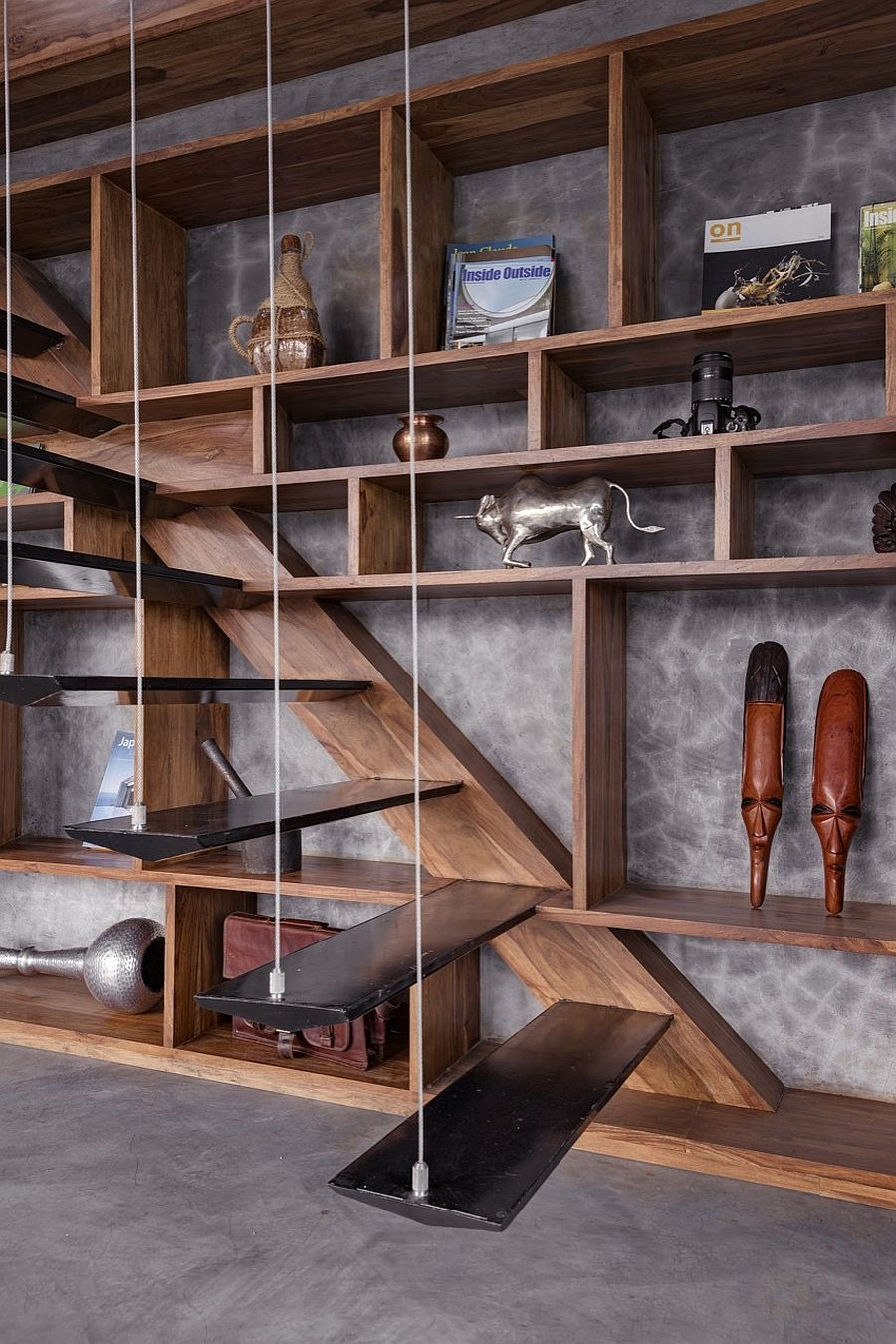 Unique-contemporary-stairway-with-wooden-stairs-suspended-using-metal-wires